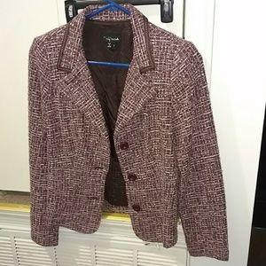 Pink and brown tweed three button blazer